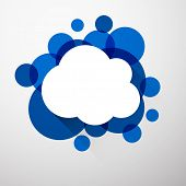 Vector illustration of white paper cloud speech bubble over blue background. Eps10.