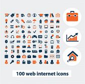 100 web internet icons, signs, elements set, vector