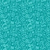 stock photo of protozoa  - Handmade seamless pattern or background with abstract marine world in blue cyan colors - JPG