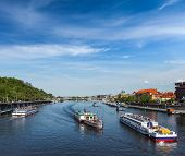 Tourist boats on Vltava river in Prague, Czech Republic