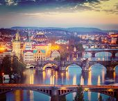 pic of nightfall  - Vintage retro hipster style travel image of travel Prague concept background  - JPG