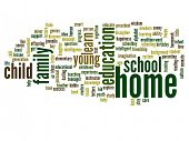 High resolution concept or conceptual home and education abstract word cloud on white background