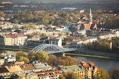 KRAKOW, POLAND - OCT 20, 2013: Aerial view of the Vistula River in the historic city center. Vistula