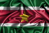 image of suriname  - Satin flag three dimensional render flag of Suriname - JPG