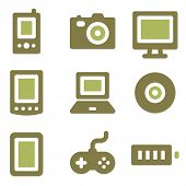 Electronics web icons, olive mix set