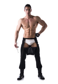 pic of strip tease  - Muscular shirtless young man with handcuffs and studded glove - JPG