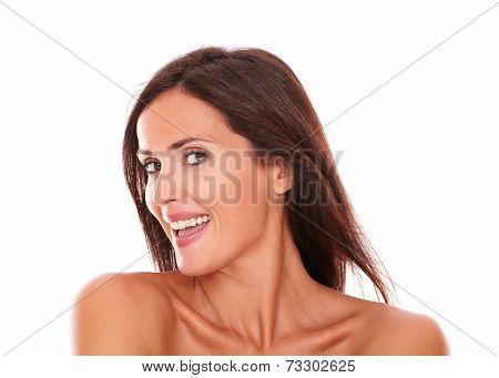 Adult Woman Smiling At Camera With Sensual Look