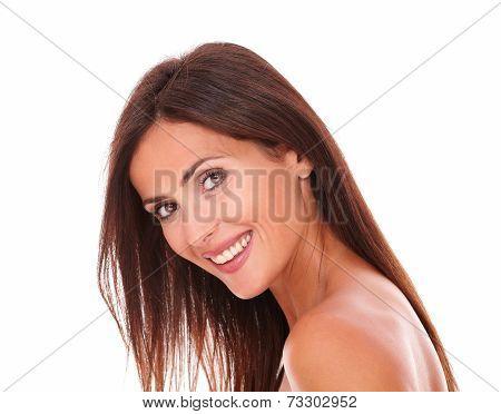 Adult Latin Woman Smiling At Camera