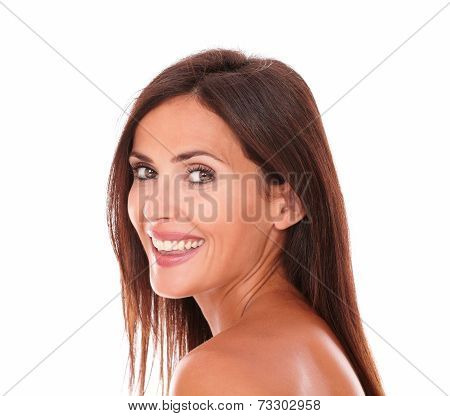 Charming Latin Woman Smiling At Camera