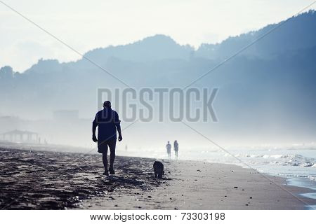 Amazing dark silhouette of mountains around bay, wet sand and sea breeze in cold color