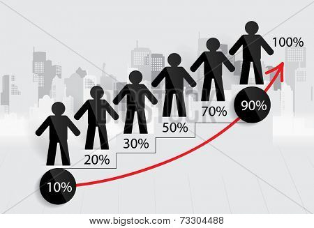 Business growing graph with businessman. Vector illustration.