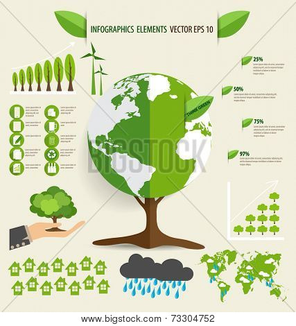 Ecology Infographics design elements. Vector illustration.