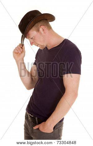 Man In Purple Shirt Cowboy Hat Side Look Down