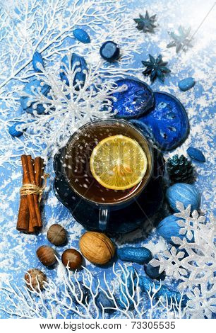 Christmas Tea With Spicery And Decorations