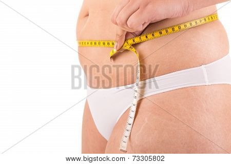 Fat Woman Measuring Her Belly