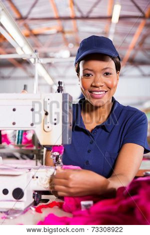 portrait of beautiful african textile factory machinist