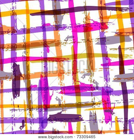 Seamless Watercolor Bold Plaid Pattern With Colorful Stripes. Vector Background