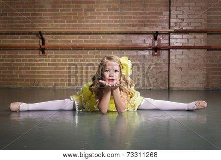 Beautiful little dancer portrait at a dance studio