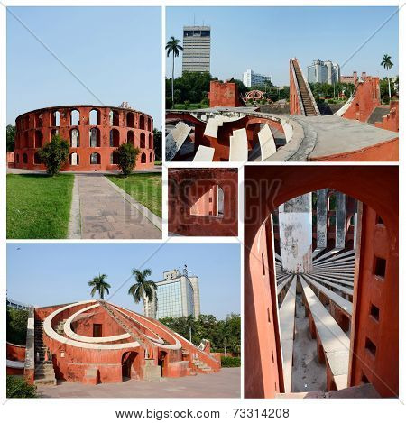 Collage Of Famous Delhi Landmark - Ancient Astronomical Observatory Jantar Mantar,unesco Heritage Si