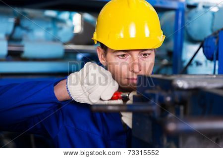 professional mechanic working in factory