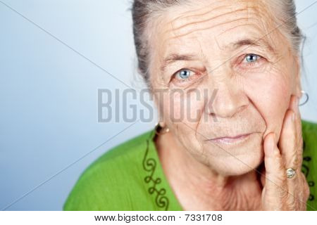 Face Of Content Beautiful Old Senior Woman