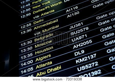 Departures Flight Information Schedule In International Airport
