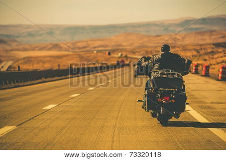 Biker Riding Motorcycle