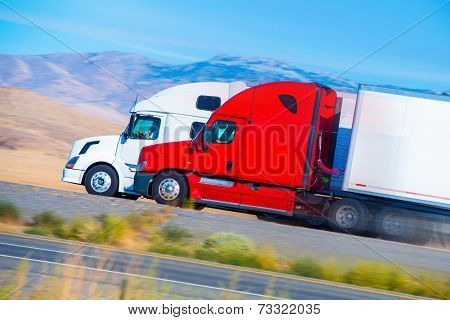 Two Speeding Semi Trucks
