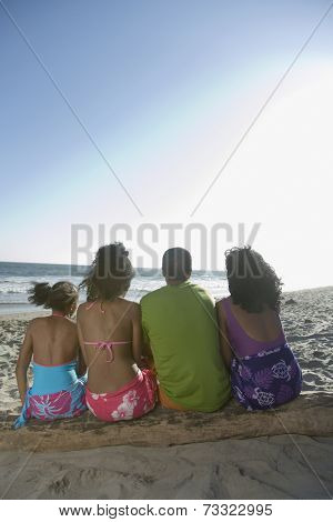 African family sitting on log at beach