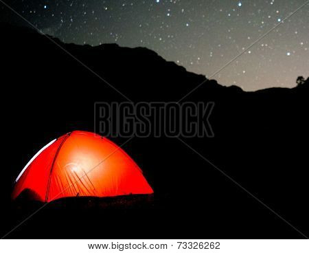 Milky way sky stars over mountain high tent camp