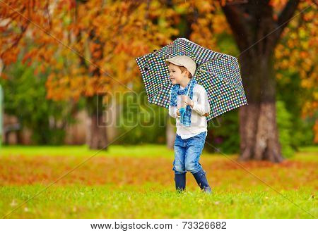 Happy Boy Enjoying An Autumn Rain In Park