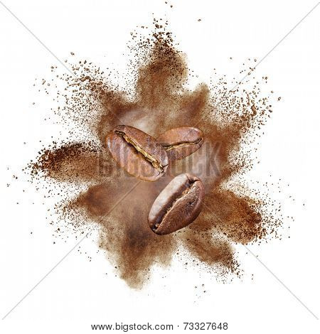 Coffee beans explosion isolated on white background