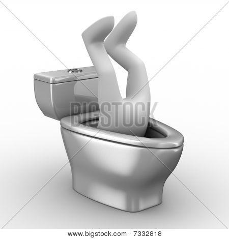 Hombre en la taza del inodoro. Aislado de la imagen 3D