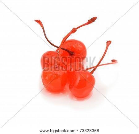 Five maraschino cherries