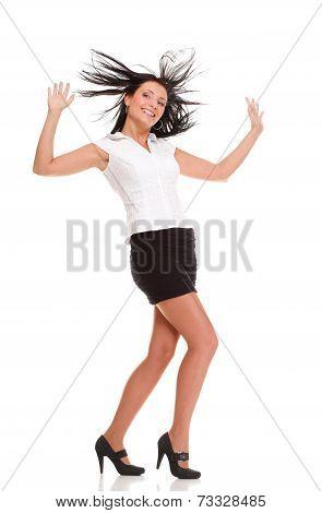 A Joyous Young Female Business Executive Celebrating Success Rai