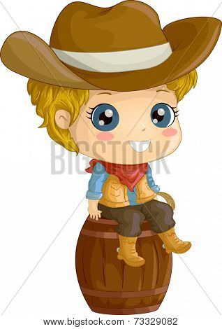 Illustration Featuring a Boy Wearing a Cowboy Costume