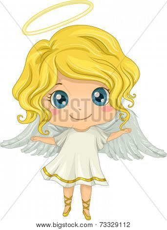 Illustration Featuring a Little Girl Dressed as an Angel