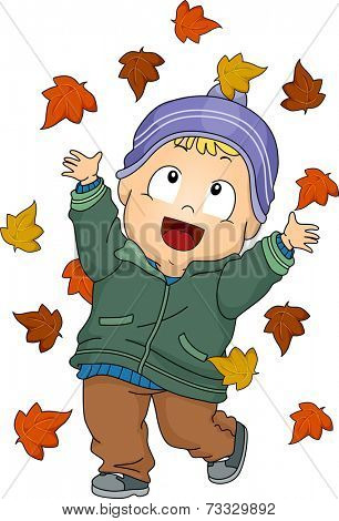 Illustration Featuring a Baby Boy Playing with Autumn Leaves