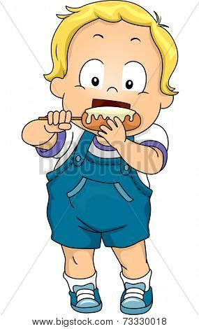 Illustration Featuring a Baby Boy Eating a Corn Dog