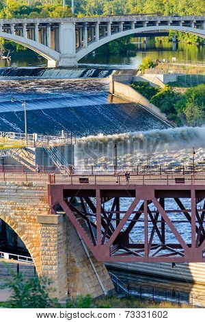Minneapolis, Mn, River And Bridge Near Downtown
