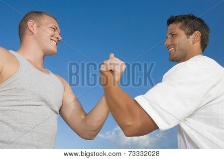 Multi-ethnic men clasping hands