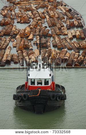 Tugboat and Log Boom