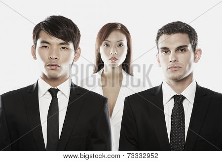 Multi-ethnic businessmen in front of businesswoman