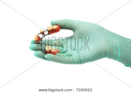Dentures on a hand