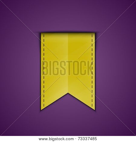 Yellow bookmark decoration ribbon. Vector illustration of silky ribbon bookmark