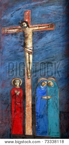 PRCANJ, MONTENEGRO - JUNE, 08: 12th Stations of the Cross, Jesus dies on the cross, the Catholic Church of the Birth of the Virgin Mary, on June 08, 2012, in Prcanj, Montenegro