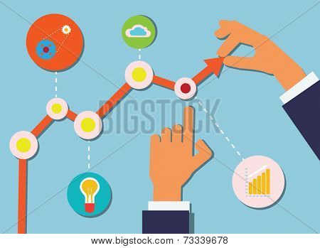 Vector Illustration with Business Schedule, Icons and Human Hands.
