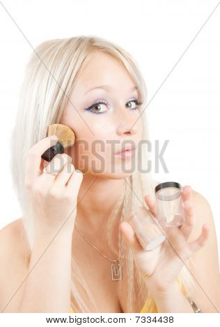 Woman Putting Make Up Over White