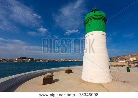 Beacon Cartagena lighthouse in Murcia Mediterranean Spain