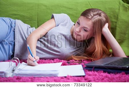 Teenage Girl Doing Homework